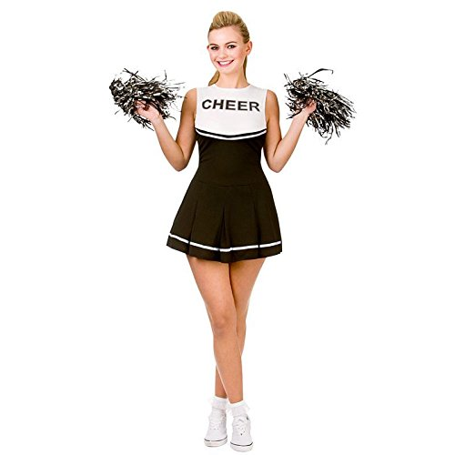 Cheerleader Black / White Sport Costume Woman Fancy Dress