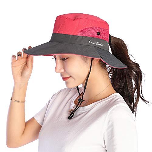 VICSPORT Frauen Sonnenhut Breiter Krempe Eimer Mesh Cap Outdoor Angeln Hüte UV Schutz - Upf Eimer Hut Damen
