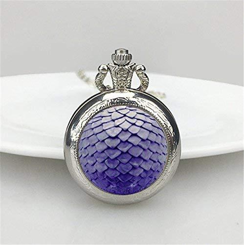 Reloj de bolsillo con colgante de dragón morado vintage chapado en plata, hecho a mano, reloj de bolsillo, collar, regalo de huevo de dragón