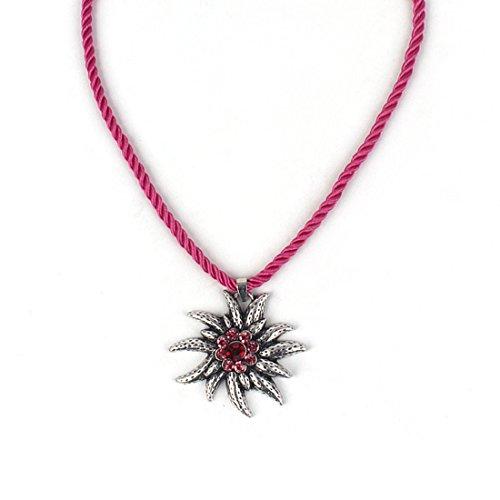 EROSPA® Trachten Hals-Kette mit silbernen Edelweiss-Anhänger Kordel Damen Schmuck Oktoberfest Dirndl Trachtenmode Wiesn rot