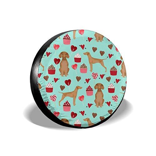 Vizsla Valentines Day Love Best Dogs Design Aqua Polyester Universal Spare Wheel Tire Cover Wheel Covers Jeep Trailer RV SUV Truck Camper Travel Trailer Accessories(14,15,16,17 Inch)17inch -