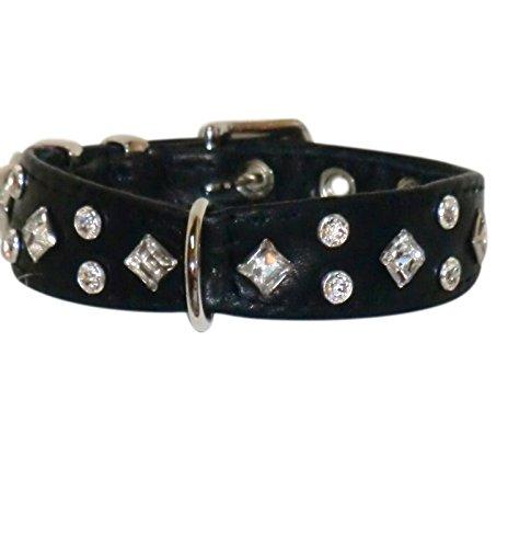 Leder-Hunde-Halsband mit Swarovski Elements Strass Maßanfertigung XS S M Schwarz