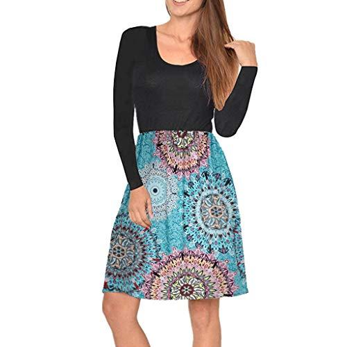 Frauen Rundhals Casual Langarm Kleid Boho Print Pocket Swing Mini Kleid Lässiges Langärmliges Kleid Mit Boho Print Für Damen -