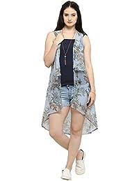 Serein Women's Sky Blue Floral Chiffon Long Shrug/Long Jacket (E-12)