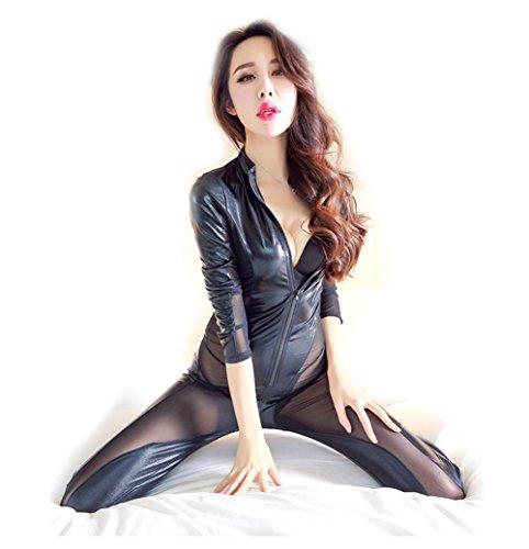 RUISISANLI Sexy Dessous Schwarz Latex PVC Party Kleid Leder Latex Dessous Sexy Hot Erotic Club Kleid Frauen Kostüm Erotik Catsuit