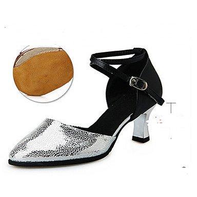 Scarpe da ballo-Personalizzabile-Da donna-Balli latino-americani Danza moderna-Piatto-Raso-Argento Dorato Gold