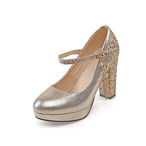 AllhqFashion Damen Rund Zehe Hoher Absatz Gemischte Farbe Schnalle Pumps Schuhe, Golden, 40