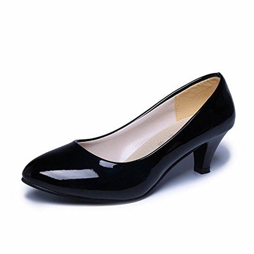 LnLyin Hochzeit Schuhe Damen Kitten Heel Schuhe OL Schuhe Pumps Nubuk Flach Mund Arbeit Schuhe Füße Schuhe für Damen Frauen Mädchen Schwarz 36