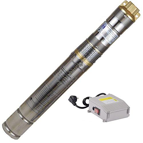 """Agora-Tec® at- 3\"""" Brunnenpumpe 370W-screw 15 m Kabel sandresistente Tiefbrunnenpumpe mit max: 7,5 bar und 1800l/H"""