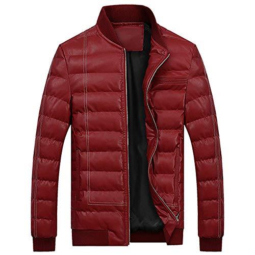 Hommes De Collier De Fermeture éClair Veste en Coton Rembourré Manteau Veste Blouse Blouson Pardessus Hiver Autumne Casual Sweatshirt Sport Rouge XL