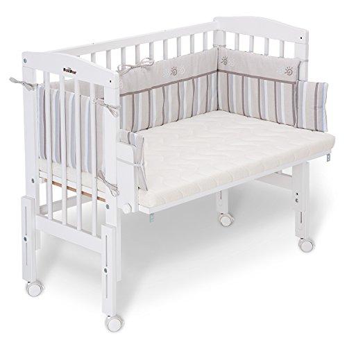 FabiMax 3811 Beistellbett PRO weiß mit Matratze COMFORT und Nestchen Emily beige - Emily Baby Möbel