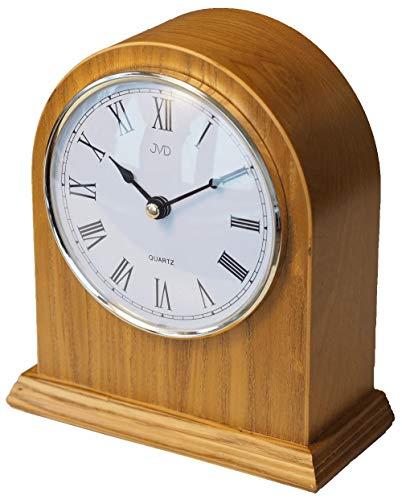 CLOCKVILLA HETTICH-UHREN Klassische Tischuhr Kaminuhr Kamin Uhr Holz Eiche hell gut lesbar Quarz - Kamin Uhr