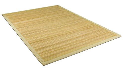 Hochwertiger massiver Bambusteppich naturbelassen mit beiger Umrandung | 17mm Stege | im Asiastyle | 100% echter Bambus nachhaltig ökologisch| Bambusmatte | Läufer für Wohnzimmer, Küche 120x170cm