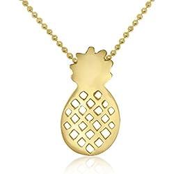Wanda Plata Collar Piña para Mujer, Plata de Ley 925 Chapado en Oro, Colgante, Gargantilla