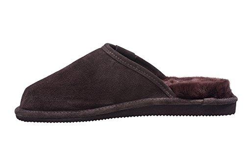 Natur Lammfell Hausschuhe /Pantoffeln Fell Damen Schlappen Braun