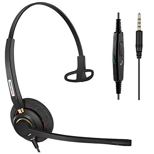 Arama Headset Handy Mono mit Noise Cancelling Mikrofon, Smartphone Kopfhörer für iPhone Samsung Huawei HTC LG ZTE BlackBerry Android Mobiltelefon mit 3,5mm Klinkenstecker (A800MP) Iphone Mobile Headset