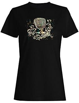 Micrófono vintage con adornos florales camiseta de las mujeres hh27f