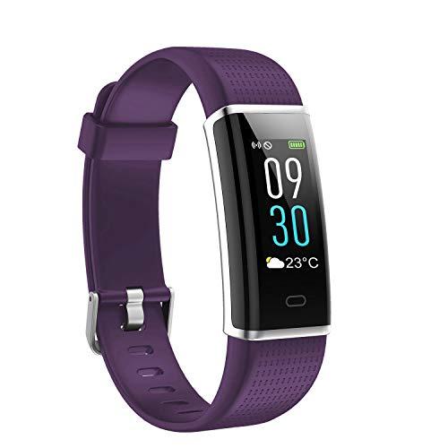 Fitness Armband, Ausun 130 Plus Farbbildschirm Fitness Tracker, IP68 Wasserdicht Schrittzähler Uhr mit Pulsmesser, Aktivitätstracker, Schlaf, Kalorienzähler Whatsapp Beachten, Lila