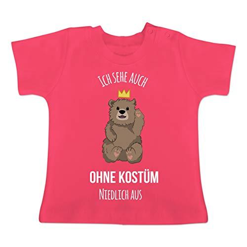 Karneval und Fasching Baby - Ich Sehe auch ohne Kostüm niedlich aus - 1-3 Monate - Fuchsia - BZ02 - Baby T-Shirt Kurzarm