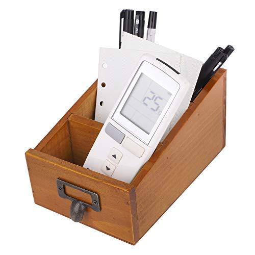 Scatola portaoggetti vintage in legno, da scrivania, per cartoline, telecomando, cancelleria o piccoli oggetti stile 3