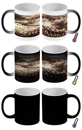 LEotiE SINCE 2004 Zaubertasse Farbwechseltasse Kaffeebecher Tasse Becher Latte Cappuccino Espresso Waffe Panzer