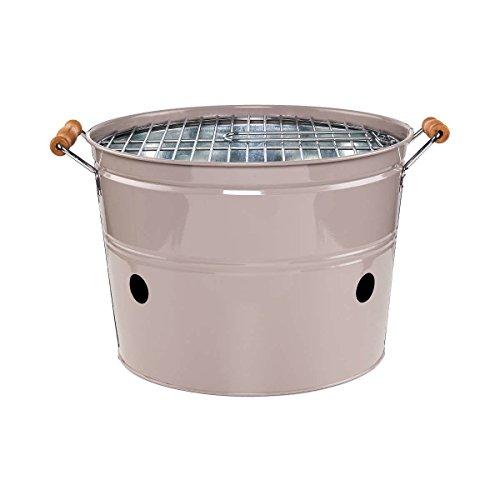 Butlers BBQ Grilleimer Rund - Picknick-Grill - Mini-Grill - Camping-Grill - Metall - Ø 33 cm - Höhe 23 cm