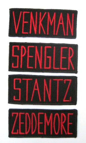 Ghostbusters Set Namen: Stantz, Zeddemore, Venkman, Spengler gestickte Aufnäher - Set of 4 Patches (Ghostbusters Figuren Kostüme)