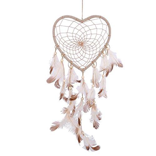 Atrapasueños con forma de corazón y plumas de aspecto vintage para colgar