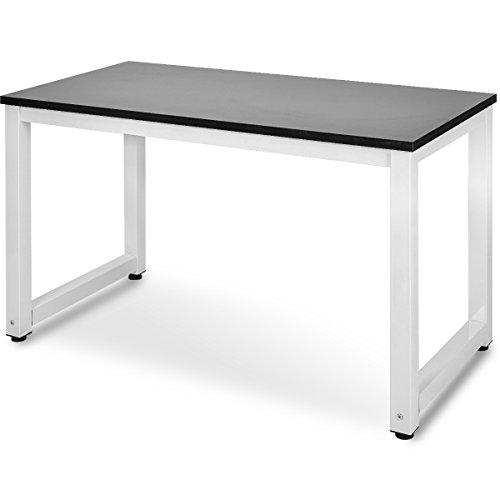 Merax Computertisch Schreibtische Bürotisch Arbeitstisch PC-Tisch, Eiche Farbe (Schwarz-Weiß) (Weißen Schreibtisch Computer)