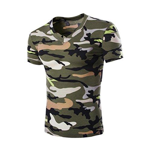 Btruely Herren Shirt Camouflage Mode Kurzarmshirt Slim Fit T-shirt Sports Top Männer V-Ausschnitt Freizeit Hemd (XXL, Armeegrün) (Shirt Golf Hoffe,)