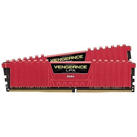 Corsair Vengeance LPX - Módulo de memoria XMP 2.0 de alto rendimiento de 16 GB (2 x 8 GB, DDR4, 2133 Mhz, CL13), rojo (CMK16GX4M2A2133C13R)