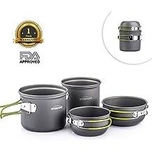 Overmont 4pics Kit de Utensilios de Cocina vajilla ollas Aprobado FDA para Camping Senderismo excursión al