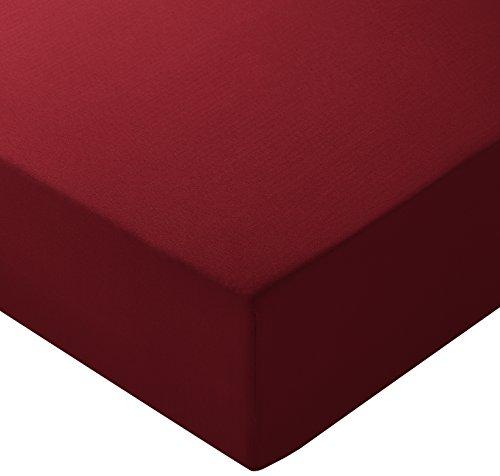 Amazonbasics - lenzuolo con angoli in microfibra, 160 x 200 x 30 cm, bordeaux