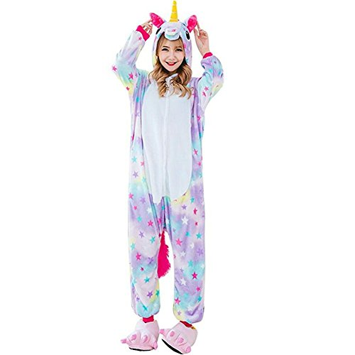 Pyjama Licorne Adulte Kigurumi Unisexe Anime Animal Costume Cosplay Combinaison Vêtements de Nuit Fleece Onesie Halloween Noel Party Soirée de Déguisement - KEYSHINE