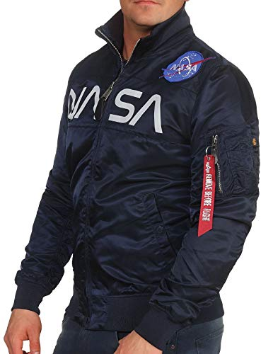 Alpha Industries Herren Jacke NASA Jacket Flight Nylon, Größe:L, Farbe:Rep.Blue Alpha Flight Jacket