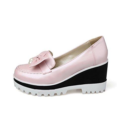 AllhqFashion Femme à Talon Haut Pu Cuir Couleur Unie Tire Rond Fermeture D'Orteil Chaussures Légeres Rose