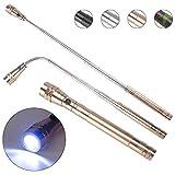 KIMILAR Einziehbares LED Taschenlampe Teleskop Verlängerung Fackel Licht mit Magnetisches Pick Up Tool (Max Length 57cm) Einschließlich Batterien (Gold)
