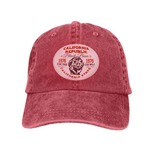 Baseball Caps Trucker Caps Bones Hip Hop Hats for Men Women California Republic Vintage Typography Grizzly Bear Print gr red