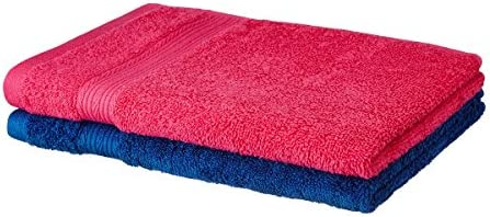 Solimo 100% Cotton 2 Piece Hand Towel Set, 500 GSM (Paradise Pink and Iris Blue)