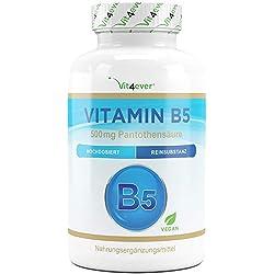 Vitamin B5-500 mg - 180 Kapseln – Pantothensäure - Hochdosiert - Vegan - B Vitamin für Haut & Nerven - Premium Qualität - Vit4ever