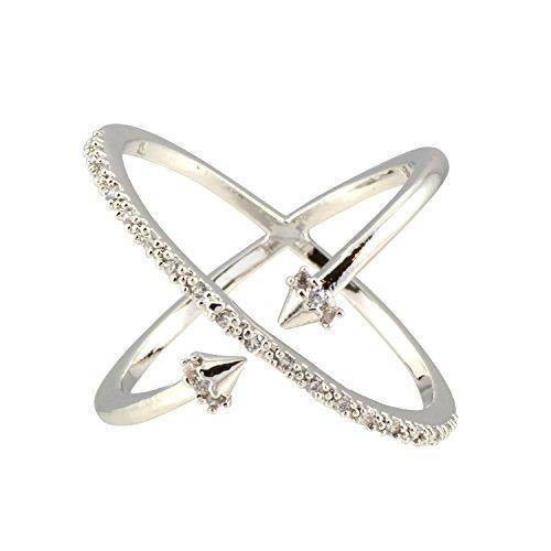 AppleLatte Versilbert x Ring mit Spikes und Kristall Akzente (Damen-lauf-spikes)