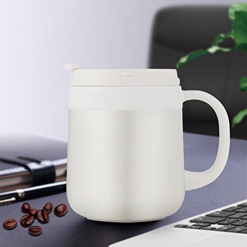 Bouteille isotherme en acier inoxydable avec poignée à tasse tasse à thé de bureau tasse à café hommes et femmes tasse hommes et femmes portable tasse à café double ventouse (Color : Blanc)