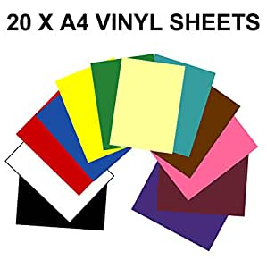 A4 Vinyl Self Adhesive Sheets x 20 (Sticky Back Plastic) 10 colours + 10 Black & White - Use with silhoutte cameo / curio / portrait craft cutter GREENSTAR GRAPHICS ®