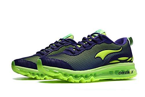 Onemix Hommes Air Coussin Chaussures De Course Homme Maille Gymnastique Sports De Plein Air Sneakers Gym Tennis Chaussures De Course Vert