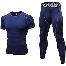 Niksa 2 Piezas Conjunto de Ropa Deportiva para Hombre Camiseta de Compresión Manga Corta y Mallas Largas para Correr Fitness Entrenamiento Yoga Azul Marino 1053+1060(XXL)