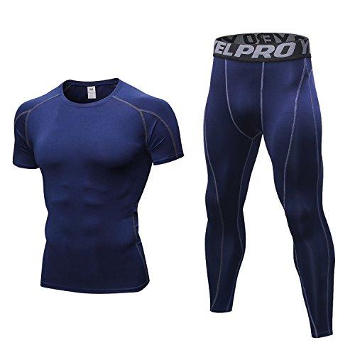 Niksa 2 Piezas Conjunto de Ropa Deportiva para Hombre Camiseta de Compresión Manga Corta y Mallas Largas para Correr Fitness Entrenamiento Yoga Azul Marino 1053+1060(XL)