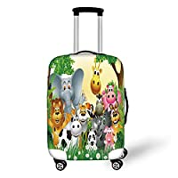 Travel Luggage Cover Suitcase Protector,Kids Decor,Cute Animals in Jungle Elephant Giraffe Panda Bear Pig Lion Hippo Rhino Cartoon,Multicolor,for Travel,M