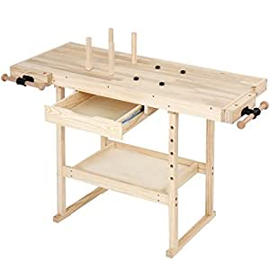 tabli de menuisier en bois massif avec tau de serrage 1 tiroir l l h env 127 57 5. Black Bedroom Furniture Sets. Home Design Ideas