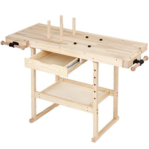 Werkbank aus Holz mit Spannzange und Schublade - 127x57,5x82,5 cm, bis 200 kg belastbar - Hobelbank erwachsene, Werktisch Schraubstock