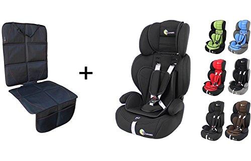 Clamaro \'Guardian 2018 Set\' Kinderautositz 9-36 kg inkl. Autositzschoner, Kopfstütze verstellbar mitwachsend, Auto Kindersitz für Kinder von 1-12 Jahre, Gruppe 1/2/3, ECE R44/04, Farbe: Schwarz